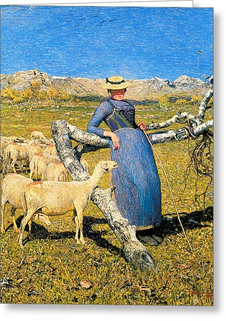 High Noon Greeting Cards - High Noon in the Alps Greeting Card by Giovanni Segantini