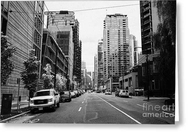 high rise apartment condo blocks in the west end west pender street Vancouver BC Canada Greeting Card by Joe Fox