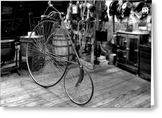 Cycles Greeting Cards - High Wheel Penny-farthing Bike Greeting Card by Christine Till