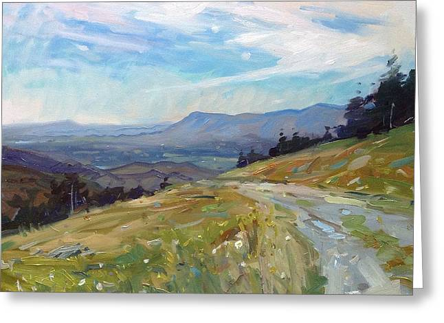 Gravel Road Paintings Greeting Cards - Highland Valley View  Greeting Card by Kyle Buckland