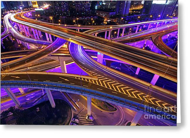 Rush Hour Greeting Cards - Highway Intersection in Shanghai Greeting Card by Lars Ruecker