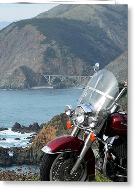 Coast Highway One Greeting Cards - Highway One Harley Greeting Card by Barbara Snyder