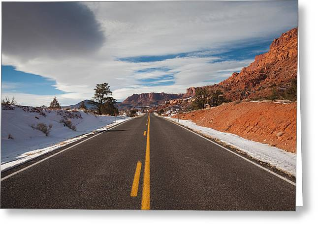 Capitol Greeting Cards - Highway Passing Through A Landscape Greeting Card by Panoramic Images