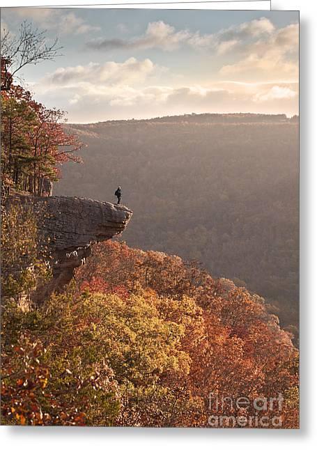 Arkansas Greeting Cards - Hiker on Hawksbill Crag in Arkansas Greeting Card by Brandon Alms