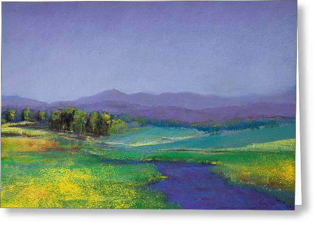 Fence Pastels Greeting Cards - Hills in Bloom Greeting Card by David Patterson