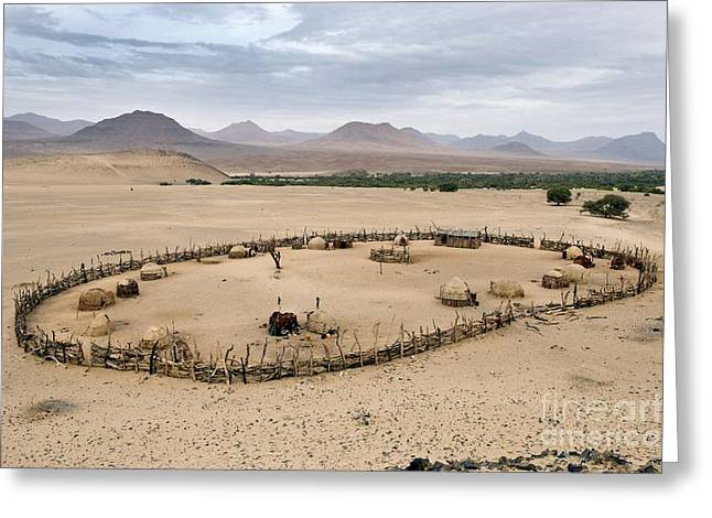 Third Countries World Greeting Cards - Himba Kraal, Namibia Greeting Card by Tony Camacho