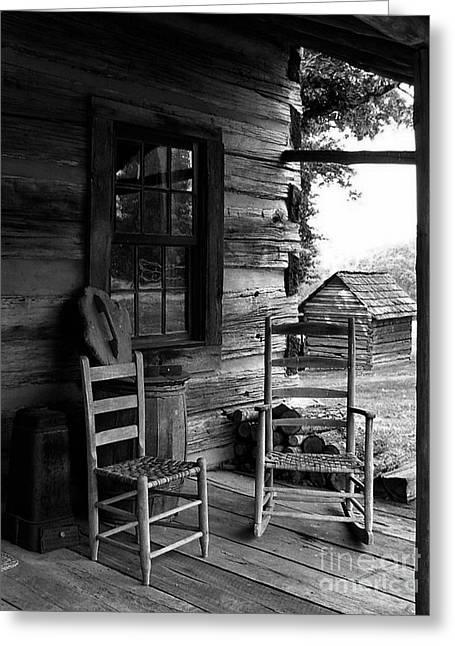 Ladder Back Chairs Greeting Cards - His and Hers Greeting Card by Julie Dant