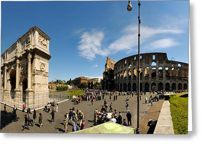 Coliseum Greeting Cards - Historic Coliseum And Arch Greeting Card by Panoramic Images
