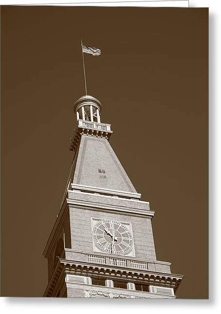 Historic D F Clocktower - Denver Greeting Card by Frank Romeo