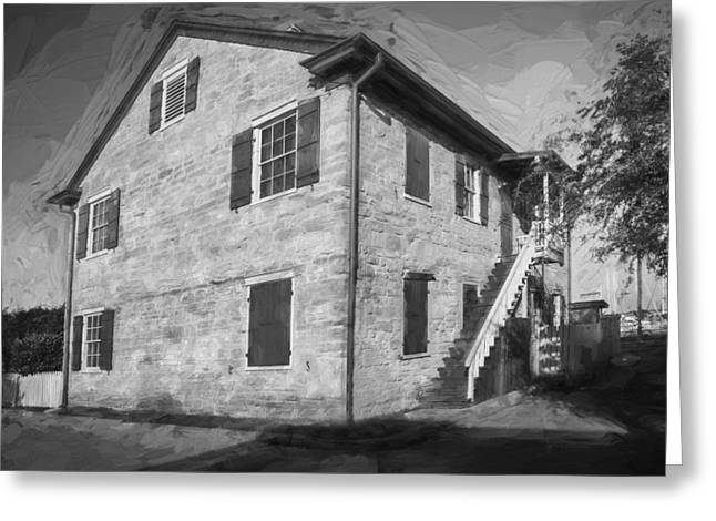 Historic Home Greeting Cards - Historic Homes of St Augustine Painted BW Greeting Card by Rich Franco