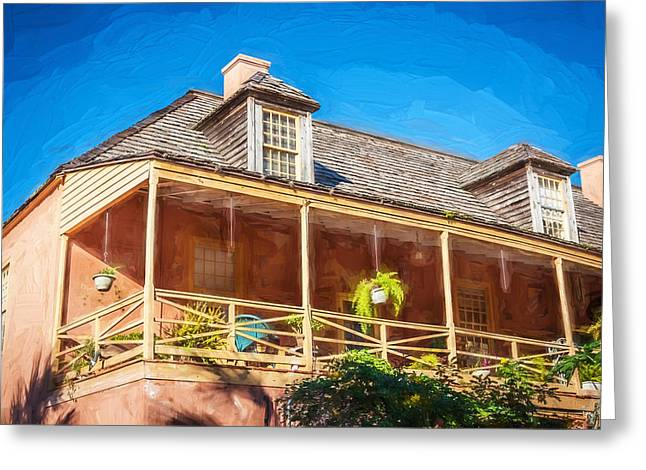 Wooden Shutter Greeting Cards - Historic Homes of St Augustine Painted  Greeting Card by Rich Franco