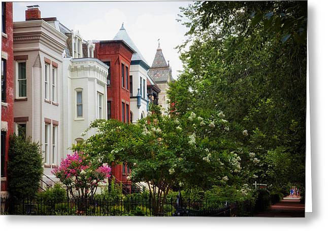 Historic Home Greeting Cards - Historic Row Houses of Washington D C Greeting Card by Mountain Dreams