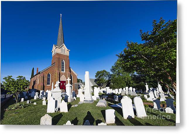 Episcopalian Greeting Cards - Historic St Peters Episcopal Church Greeting Card by John Greim