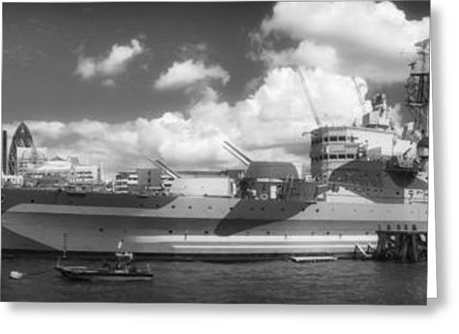 Navel Greeting Cards - HMS Belfast - London UK Greeting Card by Mountain Dreams