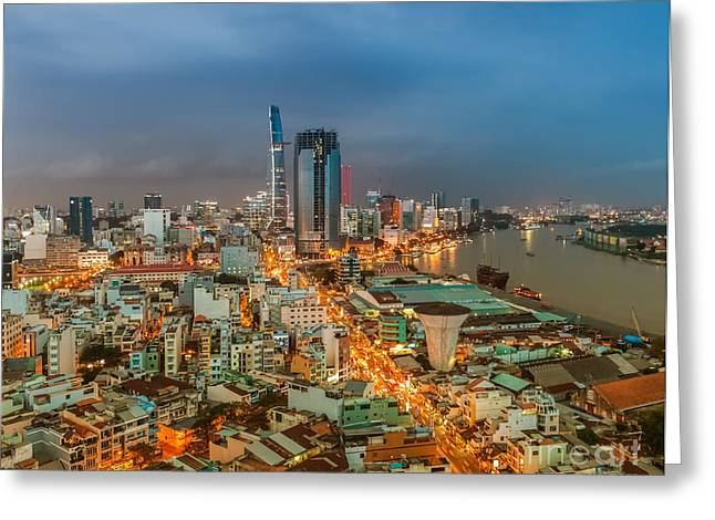 Developing Countries Greeting Cards - Ho Chi Minh City Skyline Greeting Card by Fototrav Print