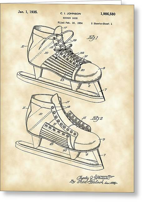Antique Skates Greeting Cards - Hockey Shoe Patent 1934 - Vintage Greeting Card by Stephen Younts