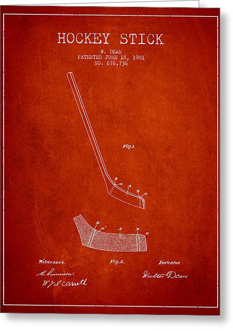 Hockey Art Greeting Cards - Hockey Stick Patent Drawing From 1901 Greeting Card by Aged Pixel