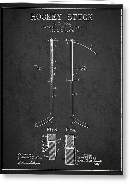 D Greeting Cards - Hockey Stick patent Drawing from 1915 Greeting Card by Aged Pixel