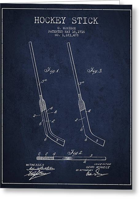 Hockey Greeting Cards - Hockey Stick Patent Drawing From 1916 Greeting Card by Aged Pixel