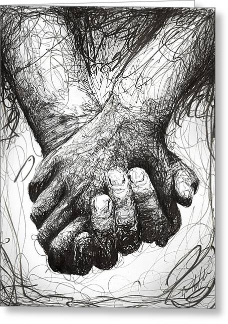 Friendship Greeting Cards - Holding Hands Greeting Card by Michael  Volpicelli