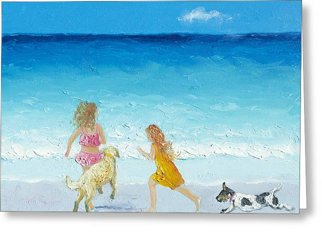 Dog Beach Print Greeting Cards - Holiday Fun Greeting Card by Jan Matson