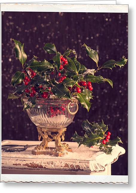 Border Photographs Greeting Cards - Holly And Berries Greeting Card by Amanda And Christopher Elwell