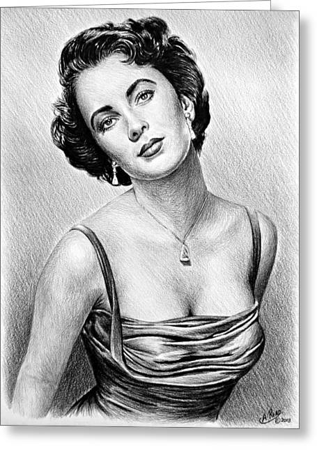 Famous Faces Drawings Greeting Cards - Hollywood Greats  Elizabeth Taylor Greeting Card by Andrew Read