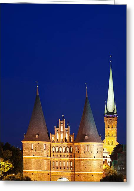 Gothic Germany Greeting Cards - Holstentor Gate, Lubeck Greeting Card by Panoramic Images