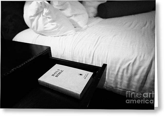 Gideon Greeting Cards - holy bible left by the gideons in a drawer at the side of the bed in a hotel room in Las Vegas Nevad Greeting Card by Joe Fox