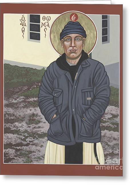 Sacred Paintings Greeting Cards - Holy World Evangelist Thomas Merton 267 Greeting Card by William Hart McNichols