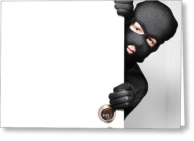 Opening Night Greeting Cards - Home burglar opening house door with copyspace Greeting Card by Ryan Jorgensen