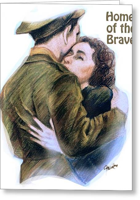 Independence Pastels Greeting Cards - Home of the Brave Text Greeting Card by Mary Fanning