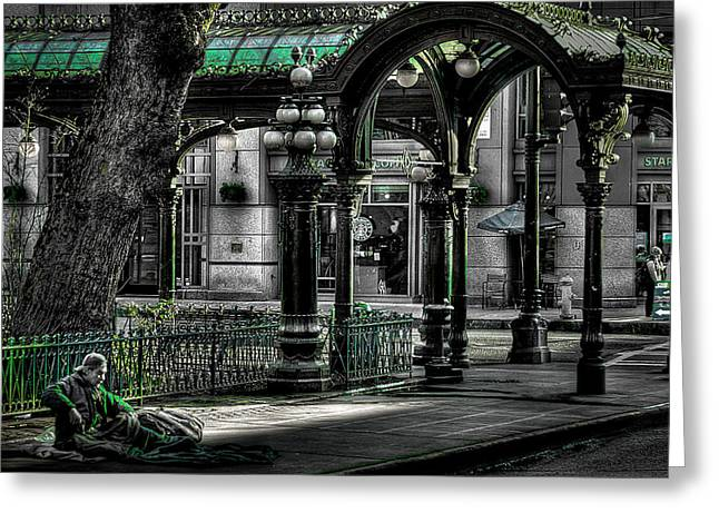 Pioneer Square Seattle Greeting Cards - Homeless in Seattle Greeting Card by David Patterson