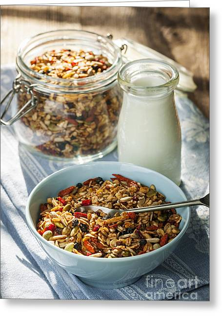 Toast Photographs Greeting Cards - Homemade granola Greeting Card by Elena Elisseeva