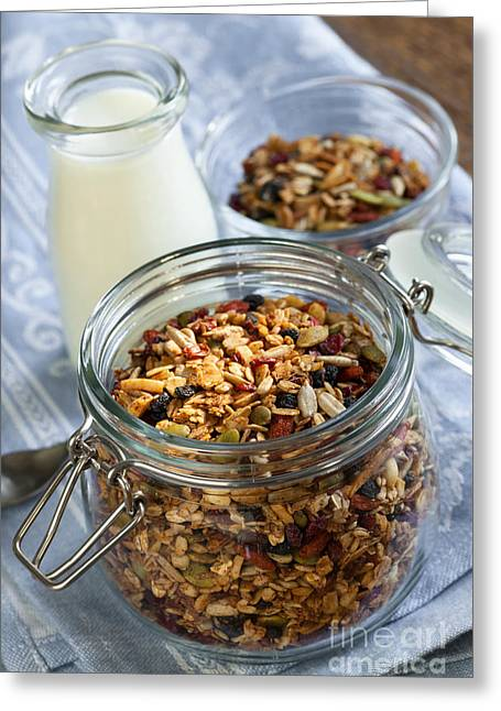 Toast Photographs Greeting Cards - Homemade toasted granola Greeting Card by Elena Elisseeva