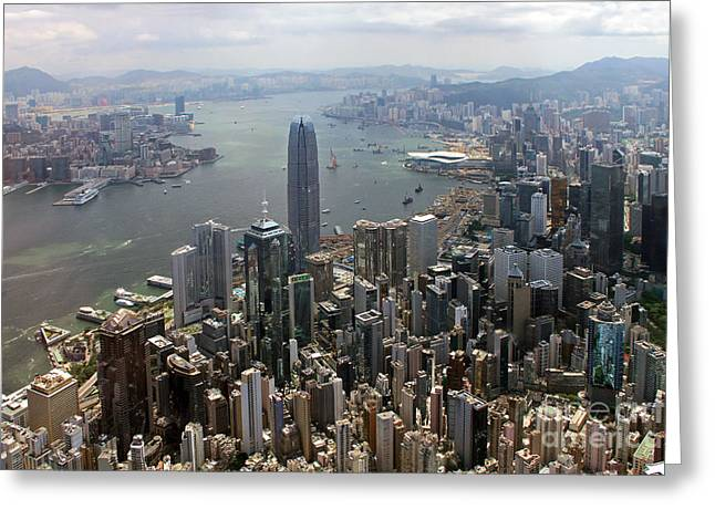 Hongkong Greeting Cards - Hong Kong Central from above Greeting Card by Lars Ruecker