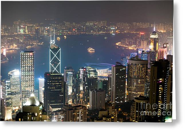 Kowloon Greeting Cards - Hong Kong harbor Greeting Card by Matteo Colombo