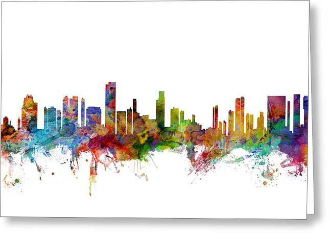 Honolulu Greeting Cards - Honolulu Hawaii Skyline Greeting Card by Michael Tompsett