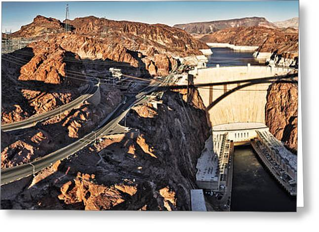 Border Photographs Greeting Cards - Hoover Dam From Bridge, Lake Mead Greeting Card by Panoramic Images
