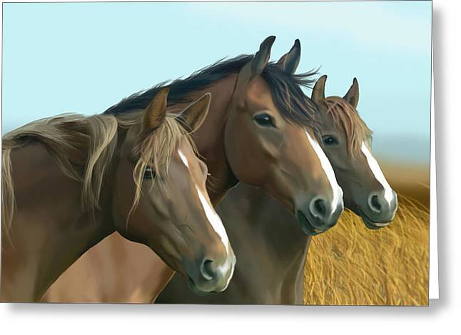Hope Of The Mustangs Greeting Card by Kate Black