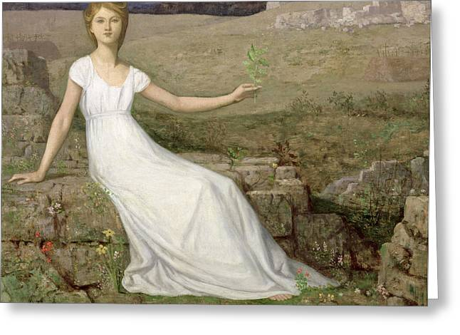 White Dress Greeting Cards - Hope Greeting Card by Pierre Puvis de Chavannes