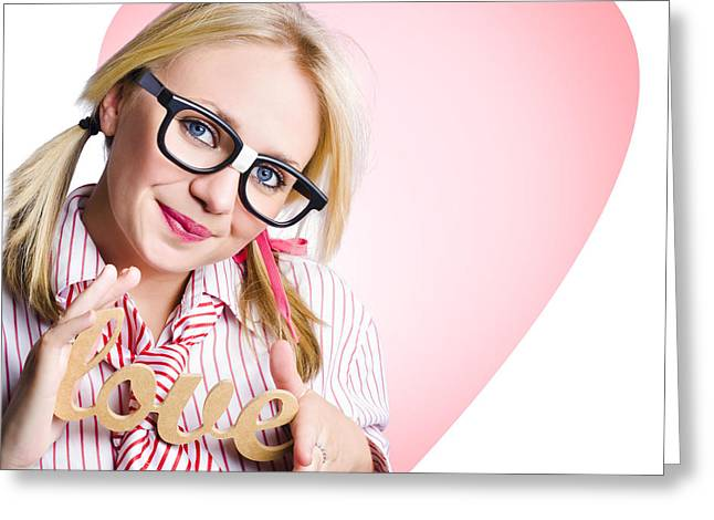 Hopeless Romantic Girl Showing Signs Of Love Greeting Card by Jorgo Photography - Wall Art Gallery