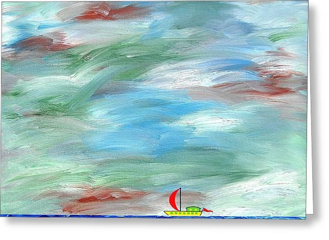 Sailing Boat Mixed Media Greeting Cards - Horizon Greeting Card by Patrick J Murphy
