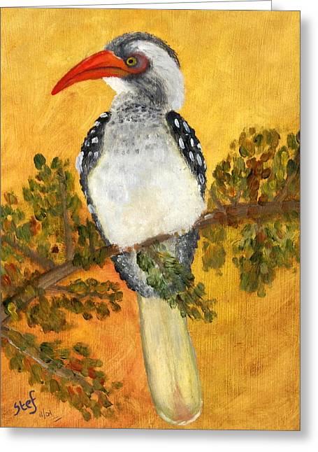 Hornbill Paintings Greeting Cards - Hornbill Greeting Card by Stef Espag