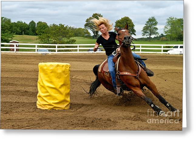 Competition Greeting Cards - Horse and Rider in Barrel Race Greeting Card by Amy Cicconi