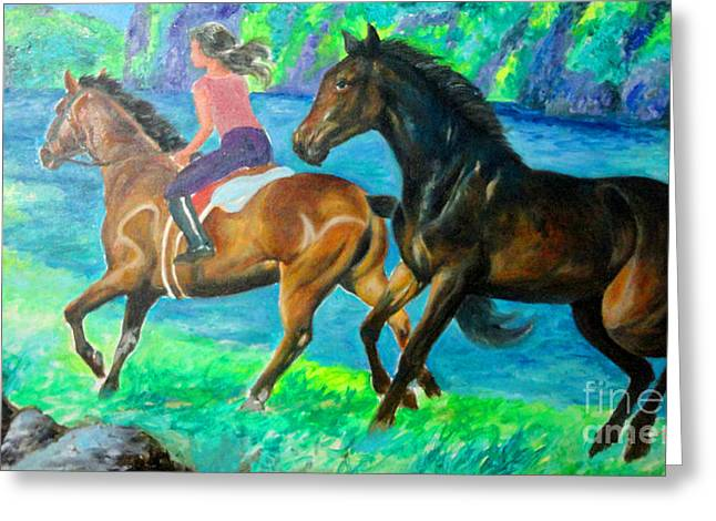 Manuel Cadag Greeting Cards - Horse Riding In Lake Greeting Card by Manuel Cadag