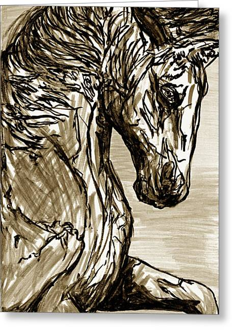 Cabin Interiors Drawings Greeting Cards - Horse Twins I Greeting Card by William L Buckingham by Erich Grant