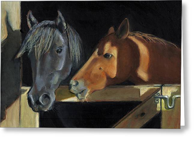 Gate Pastels Greeting Cards - Horses Visiting At The Gate Greeting Card by Joyce Geleynse