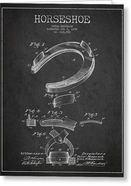 Horseshoe Greeting Cards - Horseshoe Patent Drawing from 1898 Greeting Card by Aged Pixel