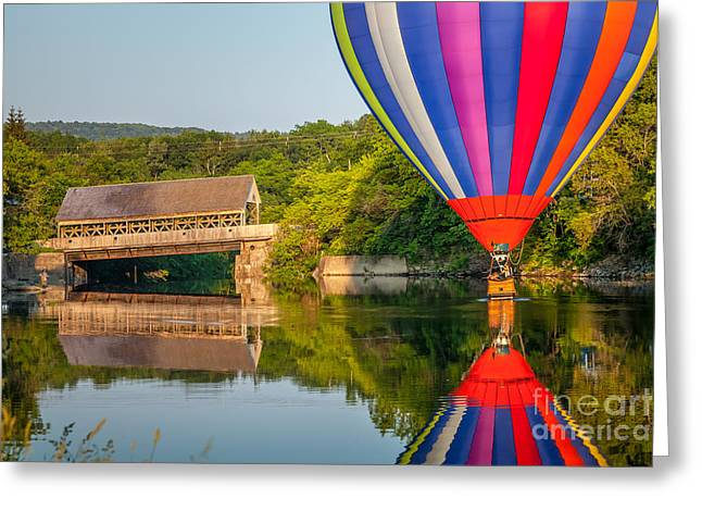 Reflections In River Greeting Cards - Hot Air Balloon Dipping near the Quechee Covered Bridge Greeting Card by Susan Cole Kelly